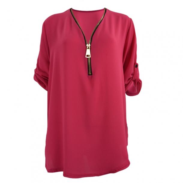 Bluse Med Lynlås Pink