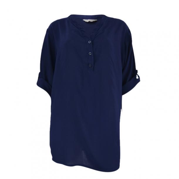 Bluse Med Kinakrave Mørke Blå