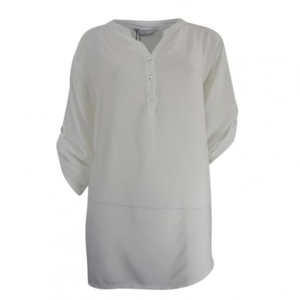 Bluse Med Kinakrave Hvid