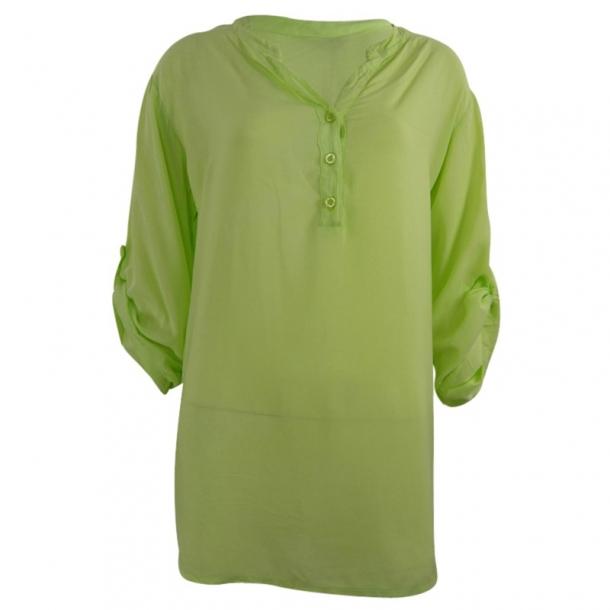 Bluse Med Kinakrave Grøn