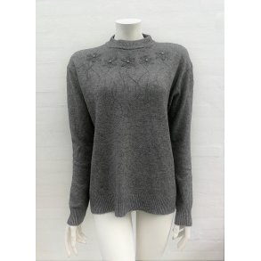 242c4341 Strikbluse med Turtleneck